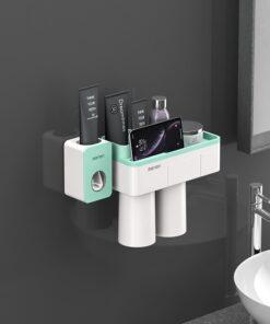 Support brosse à dent avec distributeur de dentifrice